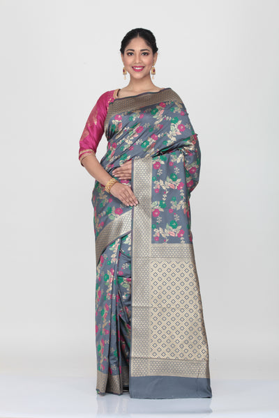 GREY COLOUR OPARA KATAN SILK SAREE WITH CONTRASTING MULTICOLORED MINAKARI THREAD WEAVING