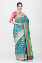 Load image into Gallery viewer, BLUE COLOUR OPARA KATAN SILK SAREE WITH CONTRASTING MULTICOLOURED BORDER AND PALLU