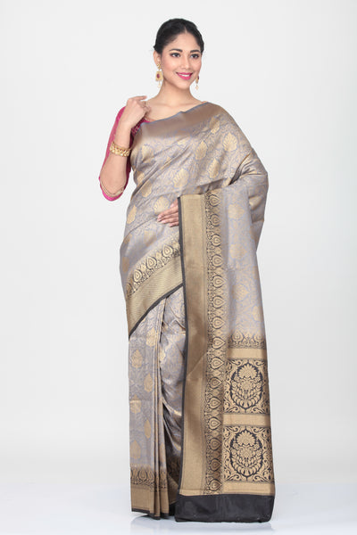 GREY COLOUR  SILK SAREE WITH CONTRASTING BLACK COLOUR BORDER