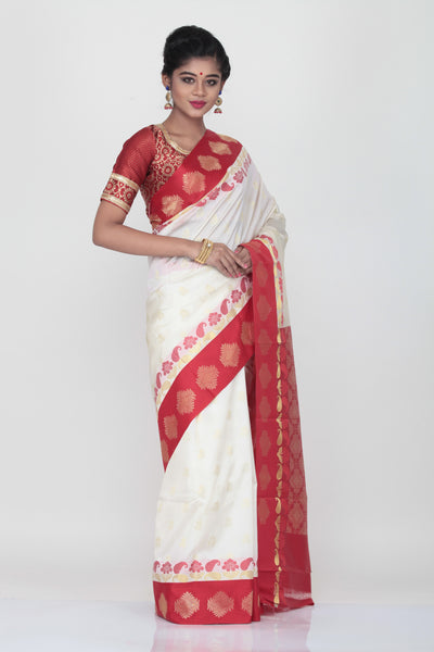 WHITE COLOUR KORIAL SILK SAREE WITH CONTRASTING RED BORDER AND PALLU
