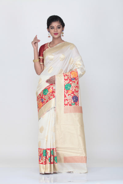 WHITE CLOUR KATAN SILK SAREE WITH CONTRASTING MINAKARI BORDER AND PALLU