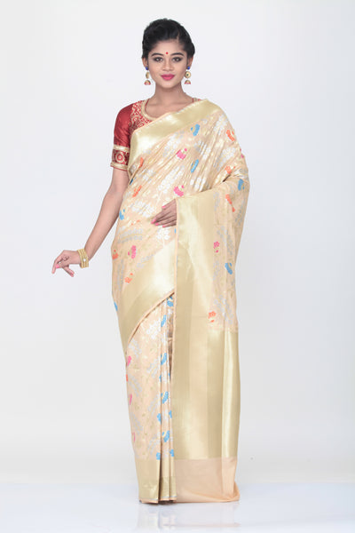 BEIGE COLOUR OPARA KATAN SILK SAREE WITH CONTRASTING ALL OVER MINAKARI WORK