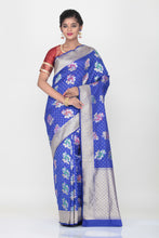 Load image into Gallery viewer, BLUE COLOUR OPARA KATAN SILK SAREE WITH ALL OVER MULTICOLORED FLORAL WEAVING