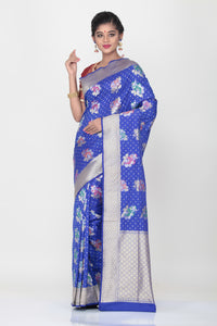 BLUE COLOUR OPARA KATAN SILK SAREE WITH ALL OVER MULTICOLORED FLORAL WEAVING