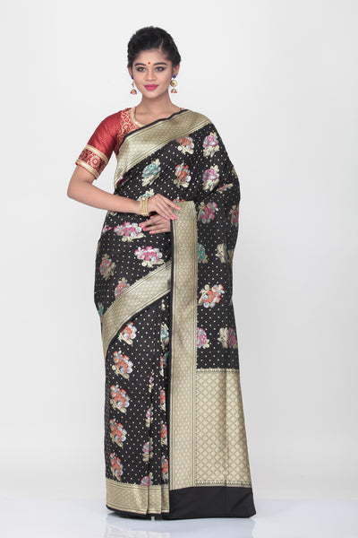 BLACK COLOUR OPARA KATAN SILK SAREE WITH ALL OVER MULTICOLORED FLORAL WEAVING