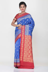 DARK BLUE COLOUR SILK SAREE WITH CONTRASTING BORDER AND PALLU