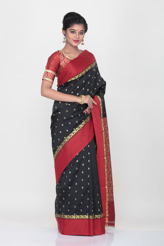BLACK COLOUR KORIAL SILK SAREE WITH CONTRASTING RED BORDER AND PALLU