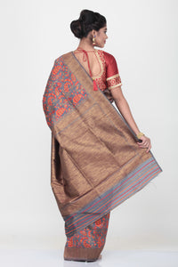 GREY COLOUR GHICHA SILK SAREE WITH ALL OVER CONTRASTING FLORAL WEAVING