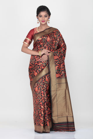 BLACK COLOUR GHICHA SILK SAREE WITH ALL OVER CONTRASTING FLORAL WEAVING