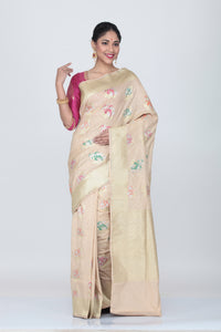 BEIGE COLOUR OPARA KATAN SILK SAREE WITH ALL OVER  MULTICOLORED FLORAL WEAVING