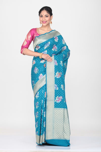 SKY BLUE COLOUR OPARA KATAN SILK SAREE WITH ALL OVER  MULTICOLORED FLORAL WEAVING
