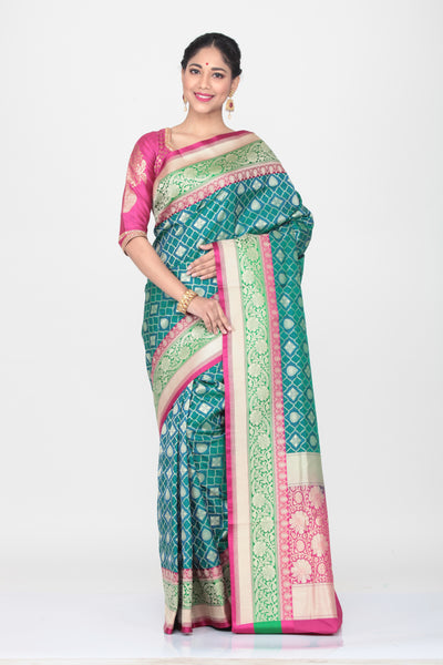 SEA-GREEN COLOUR OPARA KATAN SILK SAREE WITH CONTRASTING BORDER AND PALLU