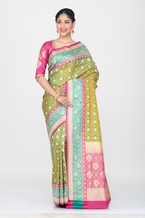 GREEN COLOUR OPARA KATAN SILK SAREE WITH CONTRASTING PALLU AND BORDER