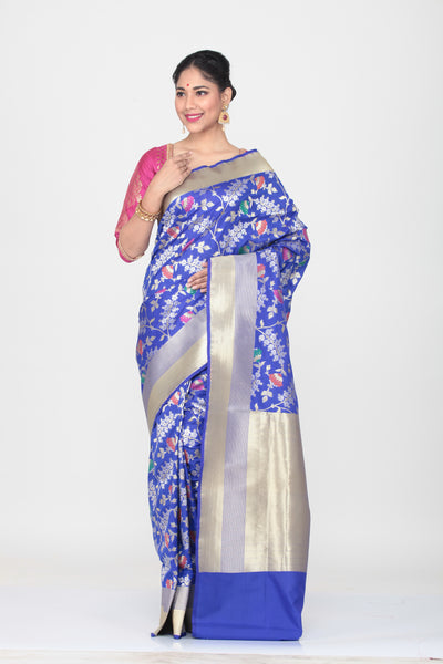 DARK BLUE COLOUR OPARA KATAN SILK SAREE WITH ALL OVER MULTICOLORED FLORAL WEAVING