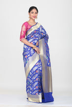 Load image into Gallery viewer, DARK BLUE COLOUR OPARA KATAN SILK SAREE WITH ALL OVER MULTICOLORED FLORAL WEAVING