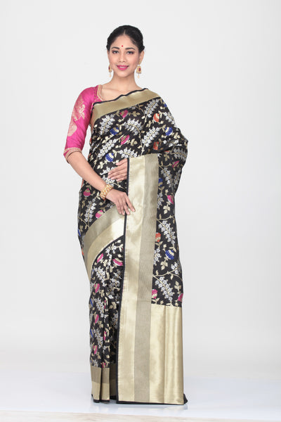 BLACK COLOUR OPARA KATAN SILK SAREE WITH ALL OVER MINAKARI FLORAL WEAVING