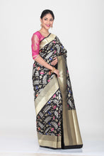 Load image into Gallery viewer, BLACK COLOUR OPARA KATAN SILK SAREE WITH ALL OVER MINAKARI FLORAL WEAVING