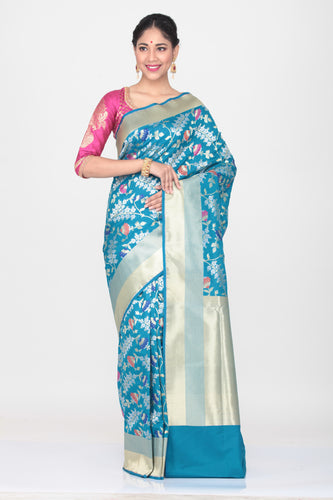 SKY BLUE COLOUR OPARA KATAN SILK SAREE WITH ALL OVER MINAKARI FLORAL WEAVING