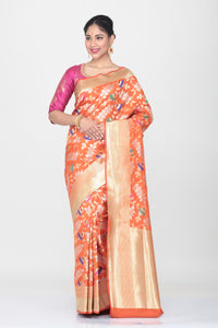 ORANGE COLOUR OPARA KATAN SILK SAREE WITH ALL OVER MINAKARI FLORAL WEAVING