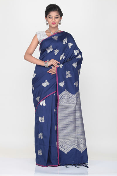 BLUE COLOUR LIGHT WEIGHT SILK SREE WITH HIGHLIGHTED SILVER MOTIF AND PALLU