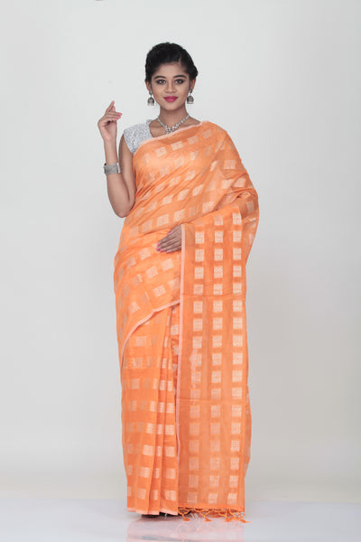 ORANGE COLOUR LIGHT WEIGHT SILK SAREE WITH HIGHLIGHTED SILVER MOTIF AND BORDER