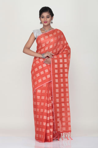RED COLOUR LIGHT WEHT SILK SREE WITH HIGHLIGHTED SILVER MOTIF AND BORDER