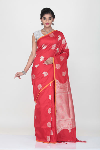 RED COLOUR LIGHT WEIGHT SILK SAREE WITH HIGHLIGHTED SILVER MOTIF AND BORDER
