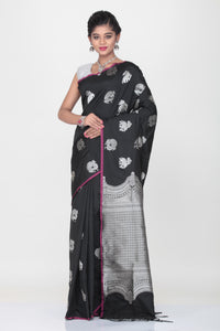 BLACK COLOUR LIGHT WEIGHT SILK SAREE WITH HIGHLIGHTED SILVER MOTIF AND BORDER