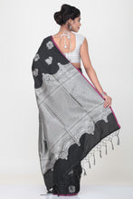 Load image into Gallery viewer, BLACK COLOUR LIGHT WEIGHT SILK SAREE WITH HIGHLIGHTED SILVER MOTIF AND BORDER