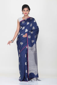 BLUE COLOUR LIGHT WEIGHT SILK SAREE WITH HIGHLIGHTED SILVER MTIF AND PALLU