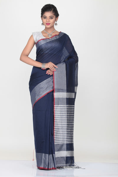 BLUE COLOUR HANDLOOM SAREE WITH CONTRASTING SILVER BORDER AND PALLU