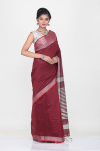 MAROON COLOUR HANDLOOM WITH CONTRASTING SILVER BORDER AND PALLU