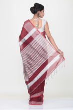 Load image into Gallery viewer, MAROON COLOUR HANDLOOM WITH CONTRASTING SILVER BORDER AND PALLU