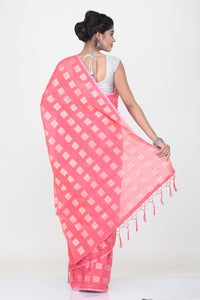 PEACH COLOUR LIGHT WEIGHT SILK SAREE WITH HIHLIGHTED SILVER MOTIF AND BORDER