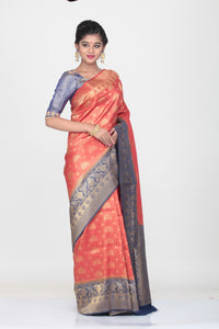 PEACH COLOUR SHADED LIGHT WEIGHT  SILK SAREE WITH ALL OVER SELF WEAVING