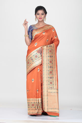 ORANGE COLOUR OPARA KATAN SILK SAREE WITH MMINAKARI PALLU AND BORDER