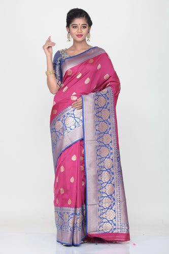 RANI COLOUR OPRA SILK SAREE WITH CONTRSTING PALLU AND BORDER