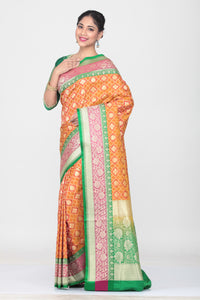 ORANGE COLOUR OPARA KATAN SILK SAREE WITH CONTRSTING BORDER AND PALLU
