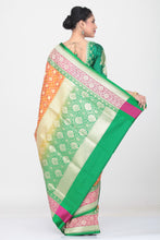 Load image into Gallery viewer, ORANGE COLOUR OPARA KATAN SILK SAREE WITH CONTRSTING BORDER AND PALLU