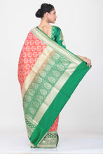 Load image into Gallery viewer, PEACH COLOUR OPARA KATAN SILK SAREE WITH CONTRASTING PALLU AND BORDER