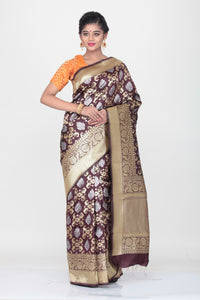DARK VIOLATE COLOUR MINAKARI OPARA KATAN SILK SAREE