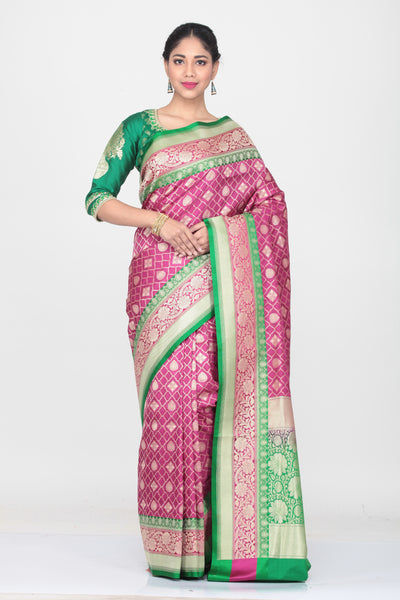 RANI COLOUR OPARA KATAN SILK SAREE WITH CONTRASTING BORDER AND PALLU