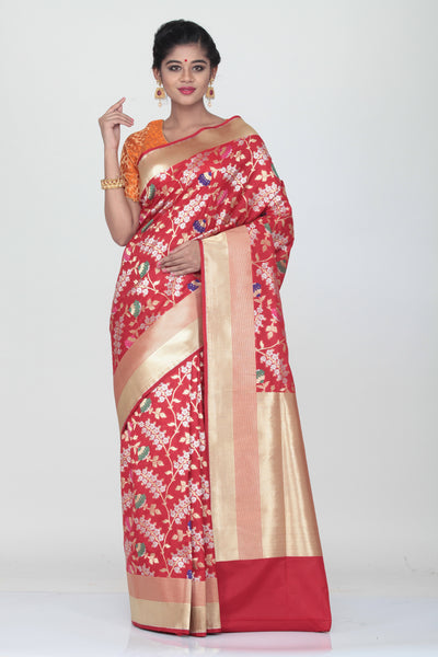 RED COLOUR OPARA KATAN SILK SAREE WITH ALL OVER MINAKARI FLORAL WEAVING