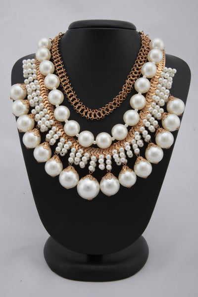 WHITE COLOUR MULTILAYERED PEARL NECKLACE