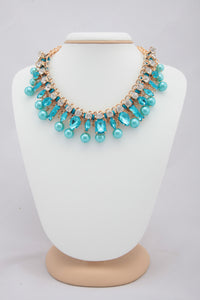 SKY COLOUR CRYSTAL AND BEADS NECKLACE