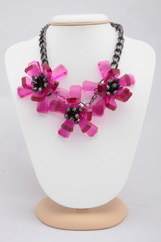 PINK COLOUR FLORAL CRYSTAL NECKLACE
