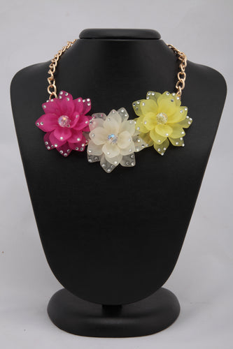 MULTICOLORED FLORAL CRYSTAL NECKLACE