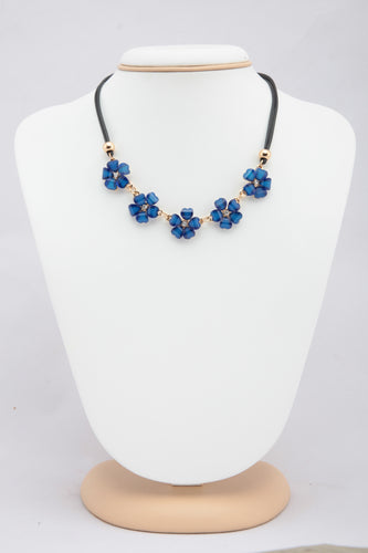 BLUE COLOUR CRYSTAL FLORAL NECKLACE