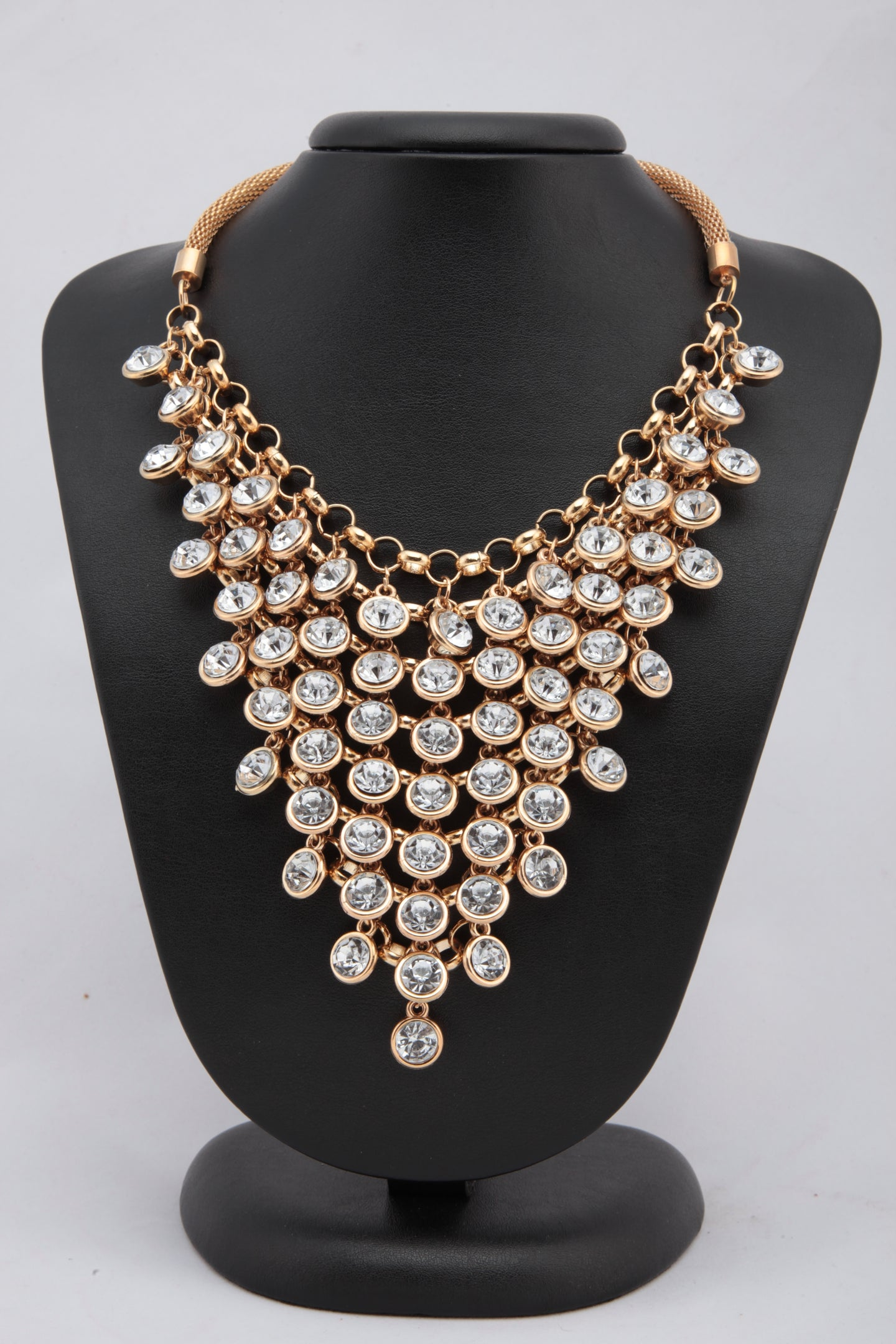 MULTILAYERED GOLDEN COLOUR CRYSTAL NECKLACE