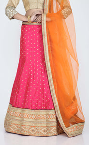 RANI COLOUR DUPION SILK LEHENGA WITH ALL OVER GOLDEN BUTA WORK